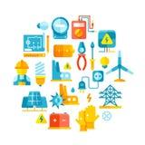 Courant électrique, lignes électriques, concept de vecteur de l'électricité avec les icônes plates illustration stock