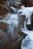 Courant congelé de rivière dégelant pour la saison Images libres de droits