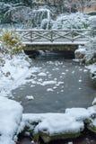 Courant congelé et peu de pont sous la neige en hiver image libre de droits