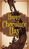 Courant délicieux de chocolat avec un label de salutation pour le jour de chocolat, illustration de vecteur Photos stock