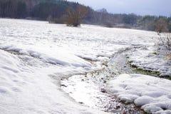 Courant d'hiver, panorama d'hiver et pré blanc photographie stock