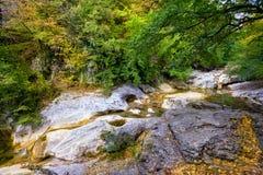 Courant de rivière en canyon Photo stock