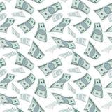Courant de vent d'argent, concept de papier de finances de tornade d'argent liquide fond volant sans couture des dollars Image stock