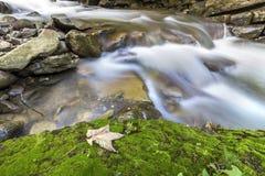 Courant fluide de rivi?re avec de l'eau soyeux lisse tombant de grandes pierres en belles cascades le jour ensoleill? lumineux d' image libre de droits