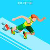 Courant 100 mètres de tiret d'ensemble d'icône de jeux d'été d'athlétisme Concept de vitesse athlète 3D isométrique Sport de l'at Photos stock