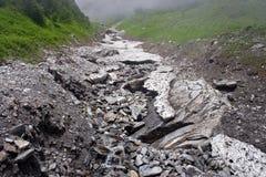 Courant partiellement congelé de montagne, vallée des fleurs, Uttarkhand, Inde Photographie stock