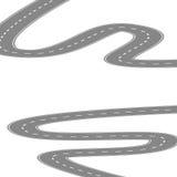Courbant la route ou la route d'enroulement avec l'illustration centrale de bande dessinée d'isolement sur le blanc illustration de vecteur