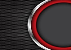Courbe argentée rouge abstraite avec l'espace vide gris sur le vecteur futuriste moderne de texture de fond d'hexagone de concept