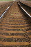 Courbe dans la voie de chemin de fer, Riga Images stock