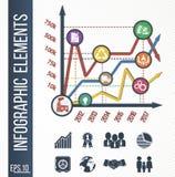 Courbe de croissance et développement de production ou d'affaires avec les icônes intégrées Photographie stock libre de droits