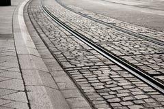 Courbe de piste de tramway Photographie stock