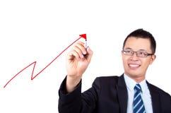 Courbe de rentabilité de retrait d'homme d'affaires Photographie stock