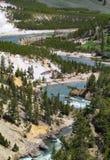 Courber la rivière en parc national de Yellowstone Photographie stock libre de droits
