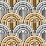 Courbes folles - modèle géométrique embrouillé avec de l'or et les couleurs argentées illustration stock