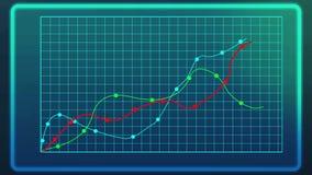 Courbes montrant la croissance industrielle sur la ligne diagramme, graphique de données d'ordinateur, statistiques illustration stock