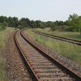 Courbure dans des voies de chemin de fer image stock