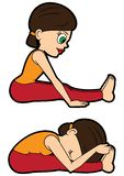 Courbure en avant posée par ensemble d'asana de yoga illustration libre de droits