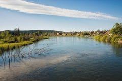 Courbure, Orégon, sur le fleuve de Deschutes image libre de droits