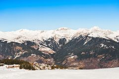 Courchevel ski resort in French Alps. Royalty Free Stock Images