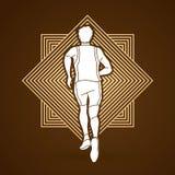 Coureur d'athlète, vecteur de graphique de vue de running back illustration stock