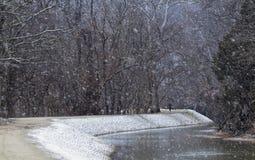 Coureur dans la neige Photographie stock