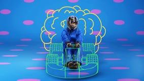 Coureur dans la voiture de course peinte sur le fond à pois Photographie stock libre de droits