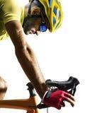 Coureur de bicyclette de route de Professinal d'isolement sur le blanc photo libre de droits