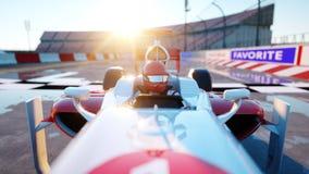 Coureur de la formule 1 dans une voiture de course Concept de course et de motivation Coucher du soleil de Wonderfull rendu 3d Photographie stock libre de droits