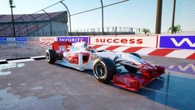 Coureur de la formule 1 dans une voiture de course Concept de course et de motivation Coucher du soleil de Wonderfull rendu 3d Photographie stock