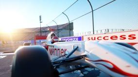 Coureur de la formule 1 dans une voiture de course Concept de course et de motivation Coucher du soleil de Wonderfull rendu 3d Image libre de droits