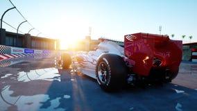 Coureur de la formule 1 dans une voiture de course Concept de course et de motivation Coucher du soleil de Wonderfull rendu 3d Image stock
