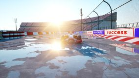 Coureur de la formule 1 dans une voiture de course Concept de course et de motivation Coucher du soleil de Wonderfull rendu 3d Images stock