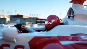 Coureur de la formule 1 dans une voiture de course Concept de course et de motivation Coucher du soleil de Wonderfull rendu 3d Photo libre de droits