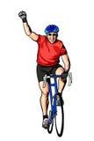 Coureur heureux de vélo Photo stock