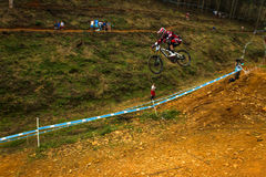 Coureur incliné MTB de Greg Minnaar de commande de vol Photographie stock libre de droits