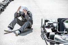 Coureur perdant la course de kart photo libre de droits