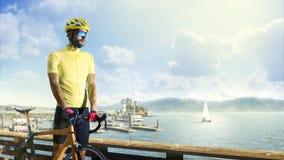 Coureur professionnel de bicyclette de route dans l'action photos libres de droits