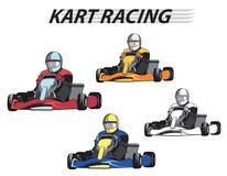 Coureurs dans les karts dans différentes couleurs Photos stock