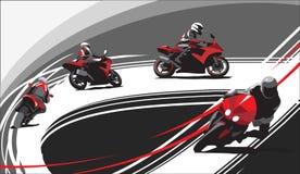 Coureurs de moto sur la voie, fond gris illustration libre de droits