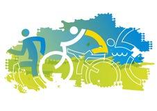 Coureurs de triathlon, grunge stylis? illustration de vecteur