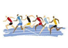 Coureurs masculins d'athlétisme, course courante illustration de vecteur