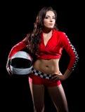 Coureuse karting de jeune fille image libre de droits
