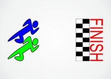 Courez la double bataille à la finition Image stock