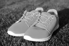 Courez la vie Espadrilles sur l'herbe verte Paires d'espadrilles sur extérieur ensoleillé Folâtrez les chaussures du matériel ora Images stock