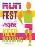 Courez le fest, continuez à courir l'affiche colorée, calibre pour la manifestation sportive, championnat, tournoi, pouvez être e illustration de vecteur