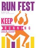 Courez le fest, continuez à courir l'affiche colorée, calibre pour la manifestation sportive, marathon, championnat, tournoi, pou illustration libre de droits