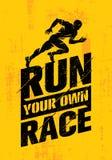 Courez votre propre course Calibre créatif de inspiration de citation de motivation de sport actif Conception approximative de ba Photo stock