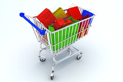 Courful bags in shopping cart. Illustration of Shopping Cart with colorful bags Stock Photos