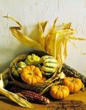 Courges et panier de maïs Photographie stock
