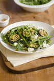 Courgette and asparagus salad. Asparagus and courgette salad with feta and sesame seeds Stock Photos